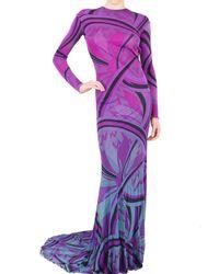 Emilio Pucci | Purple Long Printed Viscose Jersey Dress | Lyst