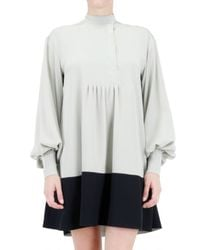 Fendi - Gray Crepe De Chine and Sable Silk Dress - Lyst