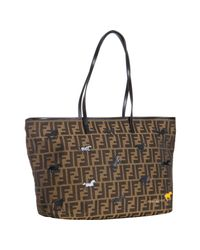 Fendi | Brown Tobacco Zucca Canvas Roll Horse Detail Tote Bag | Lyst