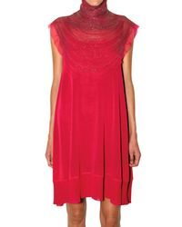 Ferragamo | Red Jewel Neck Viscose Knit Dress | Lyst