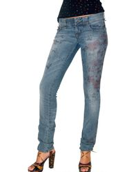 John Galliano | Blue 5pockets Cherry Printed Jeans | Lyst