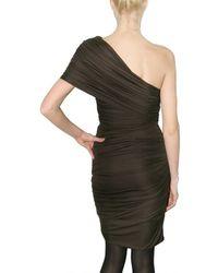 Giambattista Valli | Brown Gathered Jersey One Shoulder Dress | Lyst