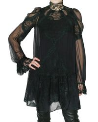 Givenchy | Black Silk Chiffon and Lace Dress | Lyst