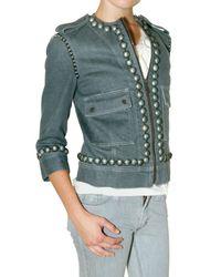 Lanvin - Blue Studded Stretch Denim Jacket - Lyst