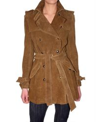 Les Soeurs | Brown Suede Trench Coat | Lyst