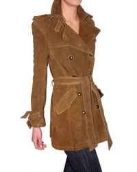 Les Soeurs - Brown Suede Trench Coat - Lyst