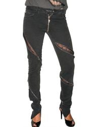 Loha Vete | Black Lace Zipper Stretch Denim Jeans | Lyst