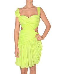 Matthew Williamson | Yellow Draped Panel Chiffon Dress | Lyst