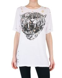No Name - White Destroyed Tiger Print Jersey T-shirt - Lyst