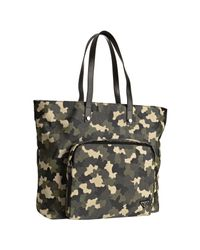 Prada | Green Military Camouflage Canvas Zip Pocket Tote Bag | Lyst