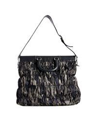 Prada - Gray Smoke Camouflage Print Nylon Ruched Top Handle Bag - Lyst