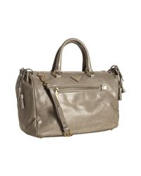Prada | Brown Pumice Leather Vitello Shine Zipper Handbag | Lyst