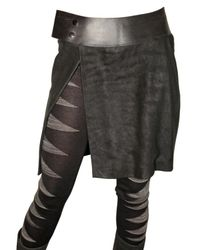 Rick Owens | Black Blistered and Destroyed Leather Skirt | Lyst