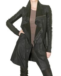 Rick Owens | Black Cord and Blistered Leather Biker Coat | Lyst