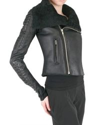 Rick Owens | Black Shearling Corduroy Biker Leather Jacket | Lyst