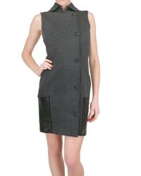 Space | Gray Leather Patch Pocket Dress | Lyst