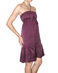 Vanessa Bruno - Purple Strapless Sauffree Satin Dress - Lyst