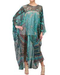 Zandra Rhodes | Green Chiffon Handprinted Kaftan Dress | Lyst
