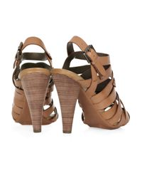 DKNY Brown Janelle Multi-strap Leather Sandals