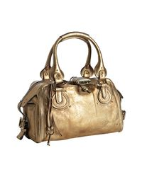 Chloé | Metallic Gold Leather Paddington Crystal Padlock Satchel | Lyst