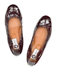 Lanvin Brown Patent-python Ballerina Flats