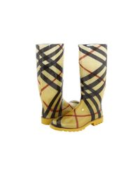 Burberry | Yellow Check Print Rain Boot | Lyst