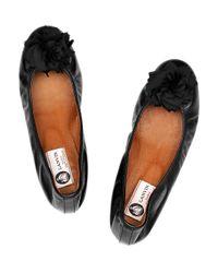 Lanvin Black Leather Ballet Flats