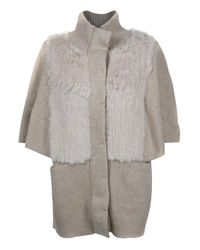 3.1 Phillip Lim | Natural Capelet Rabbit Fur Detail Cardigan | Lyst