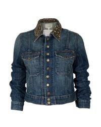 Current/Elliott - Blue Studded Jacket - Lyst