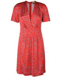 Issa | Red Star Print Sweetheart Neck Dress | Lyst