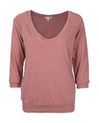James Perse | Pink Oversized Sweatshirt Top | Lyst