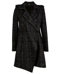 Markus Lupfer | Gray Asymmetric Twill Tartan Coat | Lyst