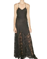 American Retro | Black Lace and Perforated Long Cotton Dress | Lyst