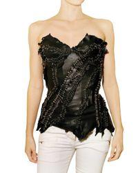 Balmain | Black Leather Bustier Top | Lyst