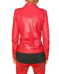 Balmain - Red Biker Leather Jacket - Lyst
