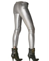 Balmain Metallic Leather Zip Up Leggings