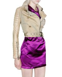 Burberry Prorsum - Natural Gabardine & Leather Jacket - Lyst