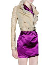 Burberry Prorsum | Natural Gabardine & Leather Jacket | Lyst