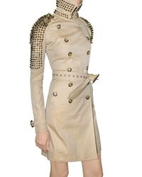 Burberry Prorsum | Natural Studded Gabardine Trench Coat | Lyst