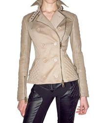 Burberry Prorsum | Natural Leather-sleeve Biker Jacket | Lyst