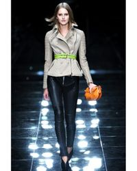 Burberry Prorsum - Natural Leather-sleeve Biker Jacket - Lyst