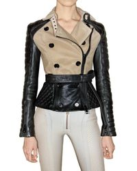 Burberry Prorsum | Black Crochet and Leather Jacket | Lyst