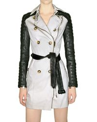 Burberry Prorsum | Black Gabardine and Leather Sleeve Trench Coat | Lyst