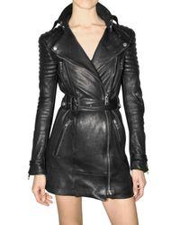 Burberry Prorsum | Black Long Biker Leather Jacket | Lyst