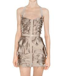 Burberry Prorsum | Metallic Silk Satin Chiffon and Leather Dress | Lyst