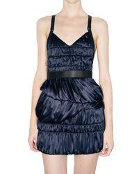 Burberry Prorsum - Blue Stretch Satin Dress - Lyst