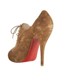 Christian Louboutin - Brown Cognac Suede Lady Derby 120 Lace Up Peep Toe Booties - Lyst
