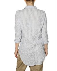 Closed - Blue Crinkled Striped Oxford Shirt - Lyst