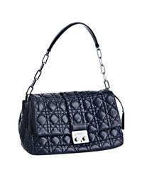 Dior | Sea Blue Cannage Lambskin New Lock Medium Shoulder Bag | Lyst