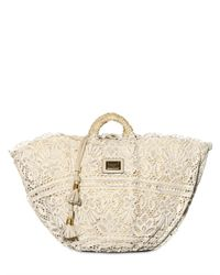 Dolce & Gabbana - Natural Woven Sicilian Straw and Lace Top Handle - Lyst